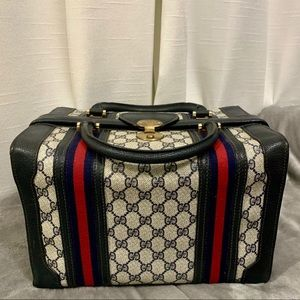 Vintage Gucci Navy Train Case Travel Vanity Makeup